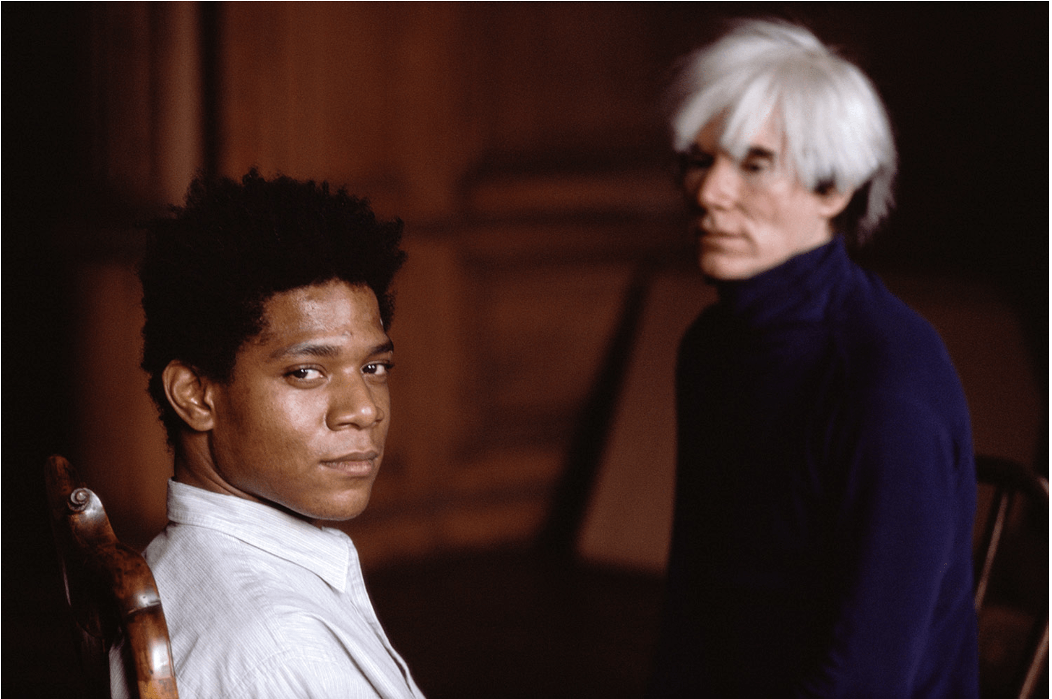 Jean-Michel Basquiat and Andy Warhol photographed by Richard Schulman © 1984